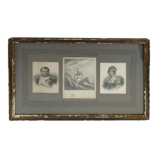Napoleon, Marie Louise and Napoleon II Framed Etchings
