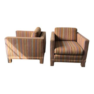 Mid-Century Striped Club Chairs - A Pair
