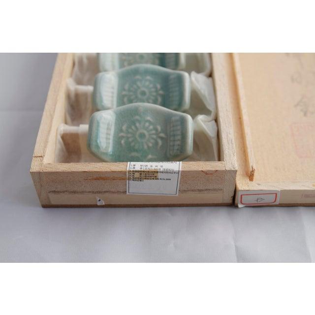 Vintage Asian Ceramic Celadon Chopstick Rests in Box - Set of 6 - Image 9 of 10