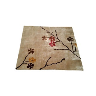 Modern Fine Silk Handmade Knotted Rug -- 3' X 3'