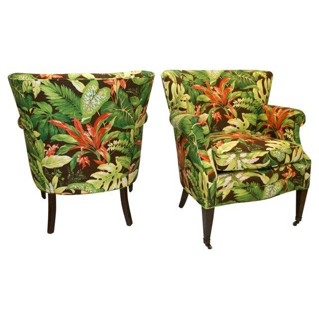 Tropical Barkcloth Chairs - A Pair - Image 4 of 7