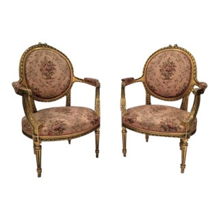 French Louis XV Carved and Gilded Bergere Chairs - A Pair