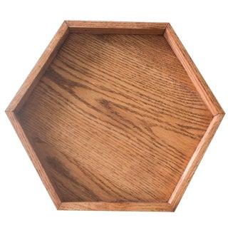 """12"""" Wooden Hexagon Tray - Red Oak Geometric"""