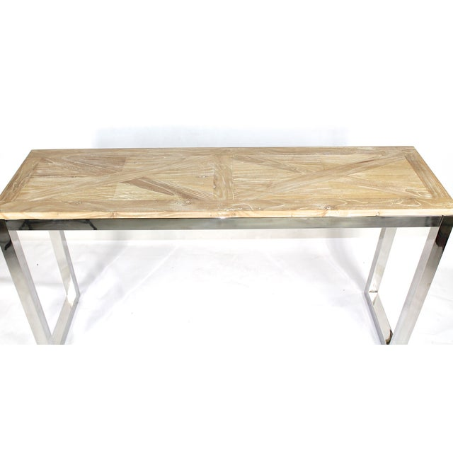 Modern Chrome and Wood Midcentury Inspired Console - Image 3 of 4