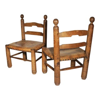 Low Leather German Chairs - A Pair
