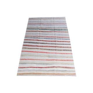 Vintage Turkish Multi-Color Handmade Flatweave Rug - 5′6″ × 9′10″