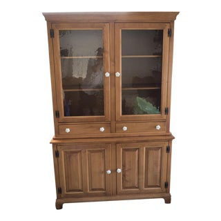 Shaker Style Maplewood China Cabinet With Hutch