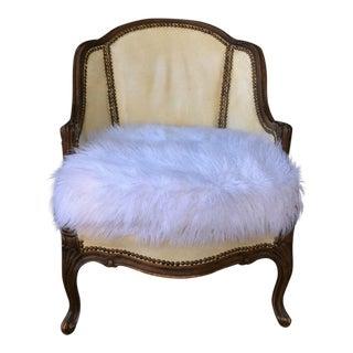 Vintage Leather & Faux Fur Club Chair