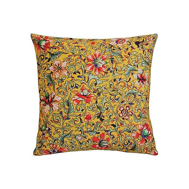 Colorful Asian Floral Linen Pillows - a Pair - Image 3 of 7