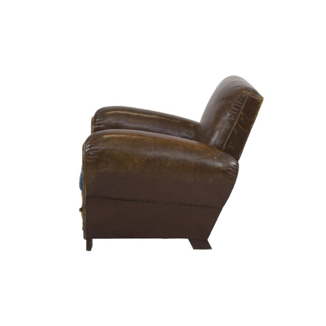 Large 1920's French Leather Club Chairs - Pair - Image 4 of 9
