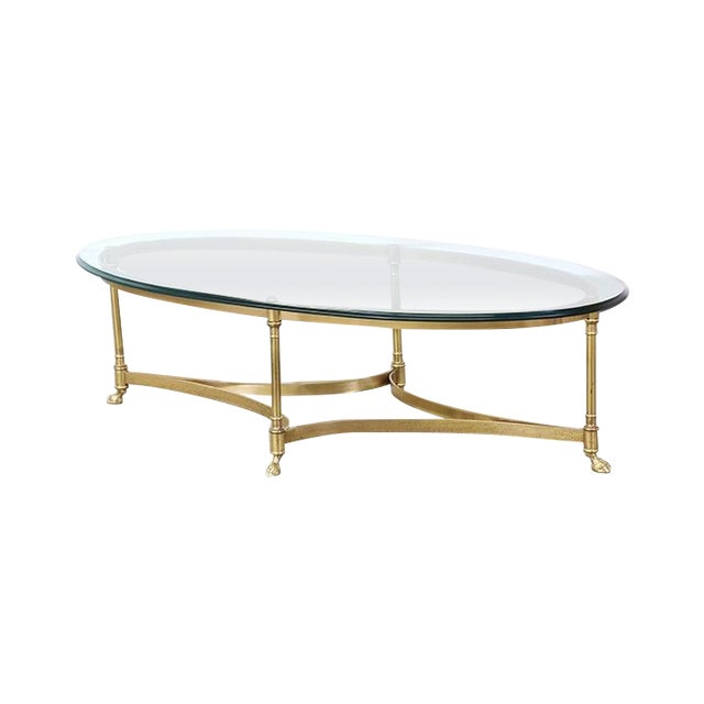 Image of Vintage Brass and Steel Hoofed Foot Coffee Table