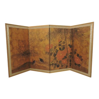 Peony Four Panel Folding Half Screen