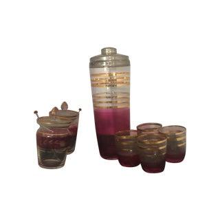 Vintage Pink & Gold Striped Cocktail Set