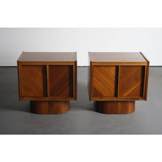 Mid-Century Book-Match Walnut End Tables - A Pair - Image 2 of 10