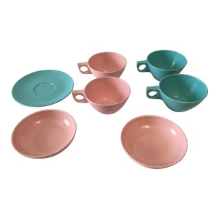 Westinghouse Ovation Mid-Century Modern Pink and Turquoise Melmac Cups, Saucers and Bowls - 7 Pieces
