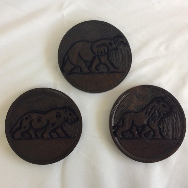Indonesia Wooden Hand Carved Coasters - Set of 6 - Image 4 of 8