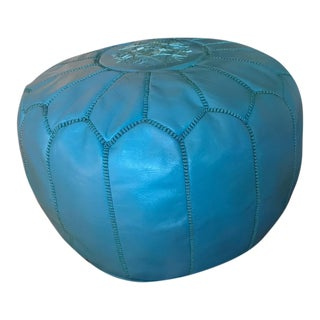 Large Authentic Turquoise Moroccan Leather Pouf Ottoman Footstool