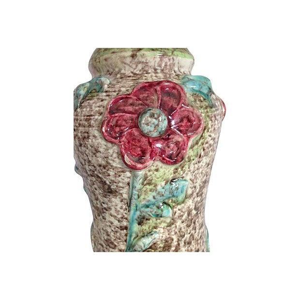 1960s Ceramic Textured Flower Lamps - Pair - Image 6 of 6
