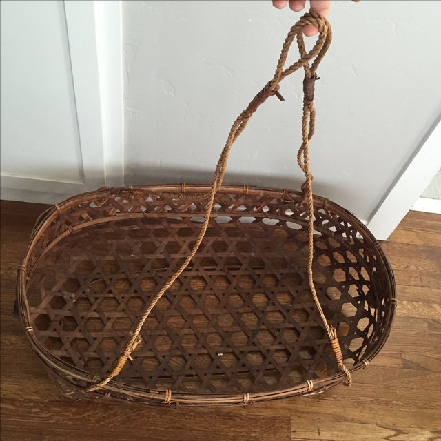 Large Vintage Wicker Bassinet With Rope Handles - Image 5 of 5
