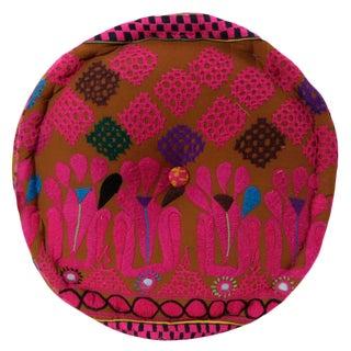 Pink And Brown Mathuravati Pouf