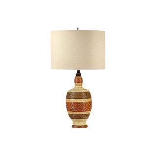 1960s Striped Incised Ceramic Lamp