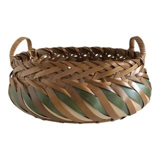 Natural Wood Woven Basket