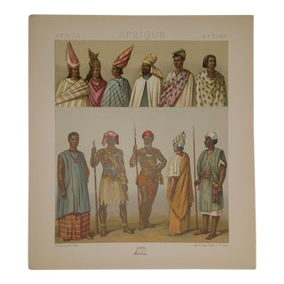 1888 Vintage Costumes of Senegal Africa Color Lithograph