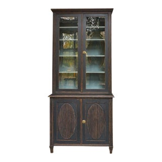 Gustavian Style Library with Glass Doors (#62-39)