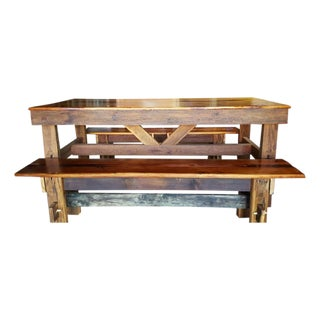Reclaimed Barn Wood Farm Table With Benches