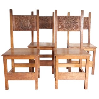 40s Gothic Dragon Dining Chairs - Set of 4