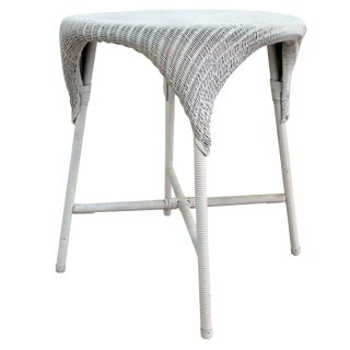 Lloyd Looms Round White Wicker Table