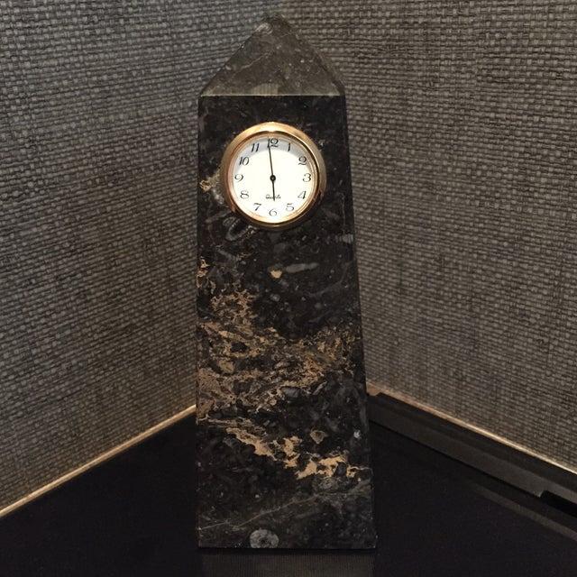 Image of Vintage Marble Obelisk Clock