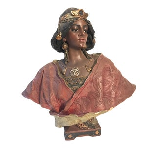 Signed Art Nouveau Bust of Egyptian Woman