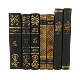 Art Deco Leather Bound Books - Set of 7