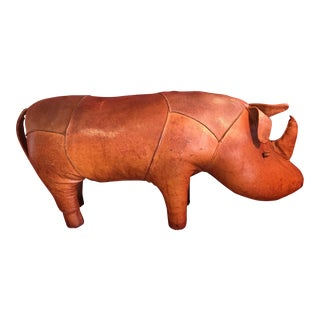 Mid-Century Leather Rhino Footstool by Dimitri Omersa