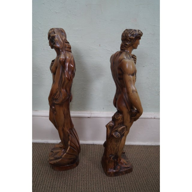 Carved Composition Adam/David Eve/Venus Pedestals - Image 10 of 10