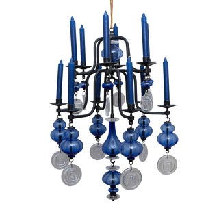 Erik Hoglund Art Glass Hanging Candelabra