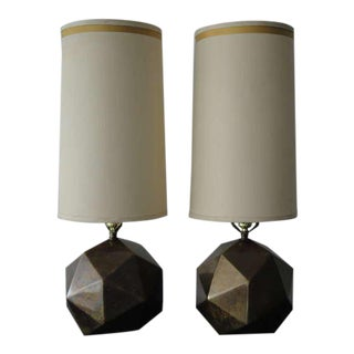 Pair Westwood Industries Antique Bronzed Faceted Lamps