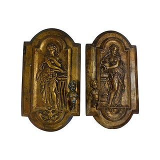 Antique Gilded Plaster Wall Sconces - A Pair