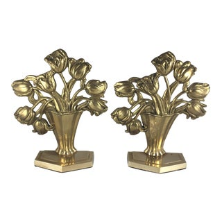Vintage Brass Tulip Bookends - a Pair