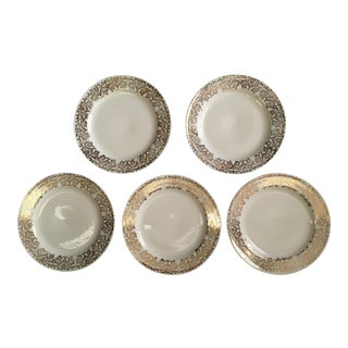 Gold Patterned Rim Plates - Set of 5
