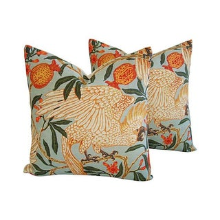 Tropical Parrot & Pomegranate Pillows - A Pair