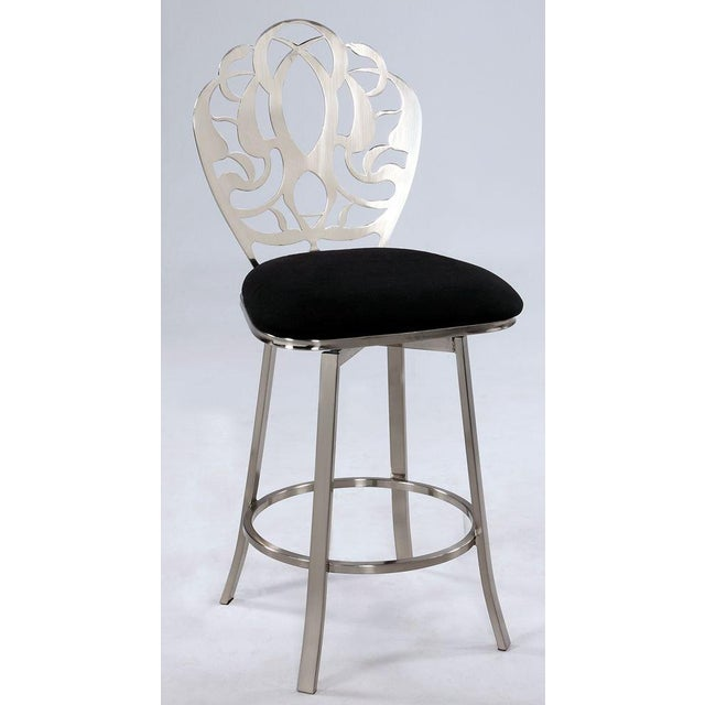 Carved Brushed Nickel Barstools - A Pair - Image 3 of 9