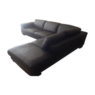 Roche Bobois Brown Leather Sectional Sofa