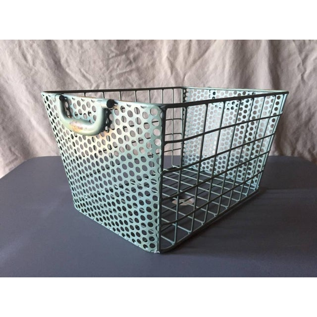 Blue Metal Perforated Industrial Style Basket - Image 3 of 8