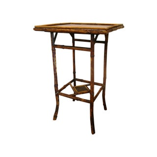 Antique Bamboo Table with Painted Top