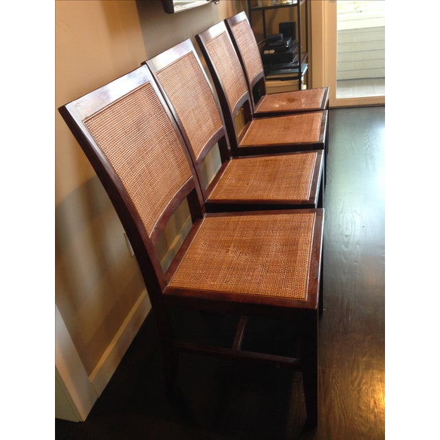 Crate & Barrel Cane Dining Chairs - Set of 4 - Image 4 of 9