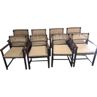 Modern Raw Hide Weave Dining Armchairs - S/8