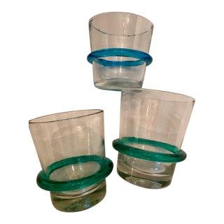 Vintage Blenko Glasses with Applied Saturn Rings - Set of 3