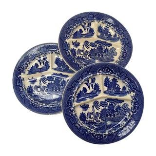 Antique Moriyama Blue Willow Plates - Set of 3